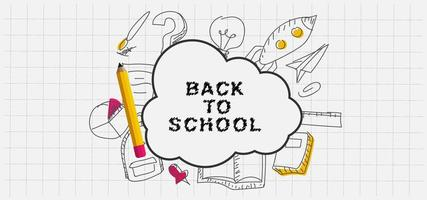 Hand drawn back to school doodles on grid paper vector