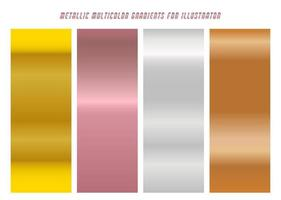 Shiny Yellow, Purple, Silver, Copper Gradients vector