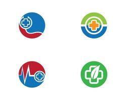 conjunto de logotipo médico circular