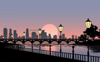 City Sunset Landscape vector
