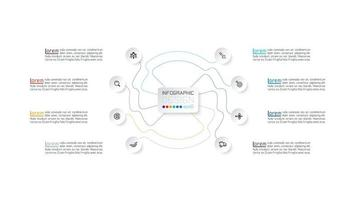 cor conectado linha e círculo ícone infográfico