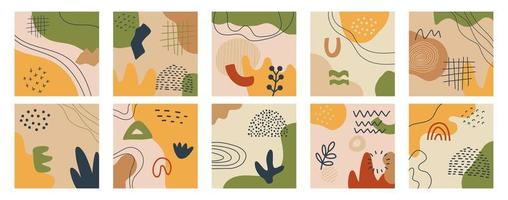 Art print set with hand drawn trendy boho shapes