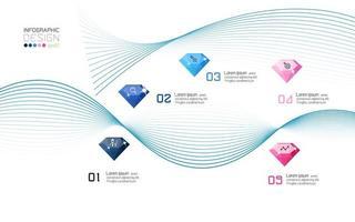 infographie de lignes de vagues modernes et de pierres précieuses