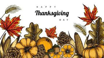 Hand drawn Thanksgiving day leaves and fruits