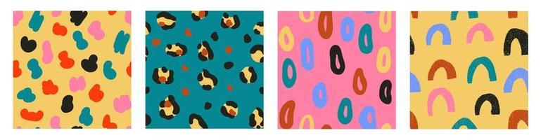 Set of four modern trendy seamless patterns vector