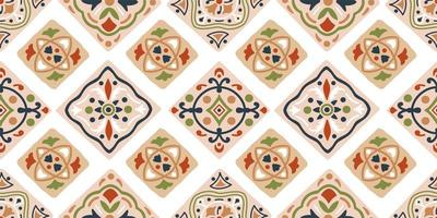 Hand drawn seamless tribal pattern in brown, blue, green vector