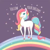 Unicorn with rainbow and follow your dreams text vector