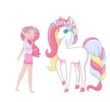 Cute girl with unicorn