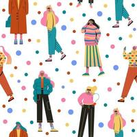 Stylish women dressed in trendy clothes seamless pattern