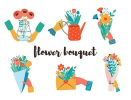Hands holding flower bouquets in different items vector