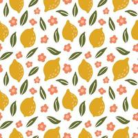 Hand drawn lemon seamless pattern