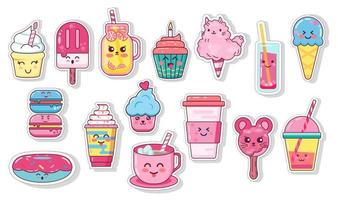 Kawaii set of food and drink vector