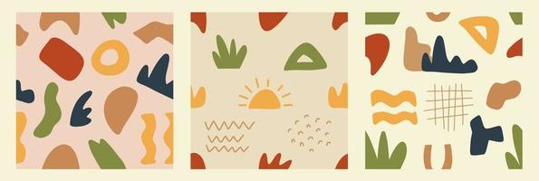 Trendy abstract shape seamless patterns vector