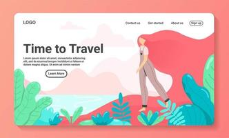 Time to travel landing page template vector