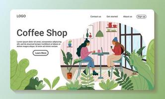 Coffee shop landing page vector