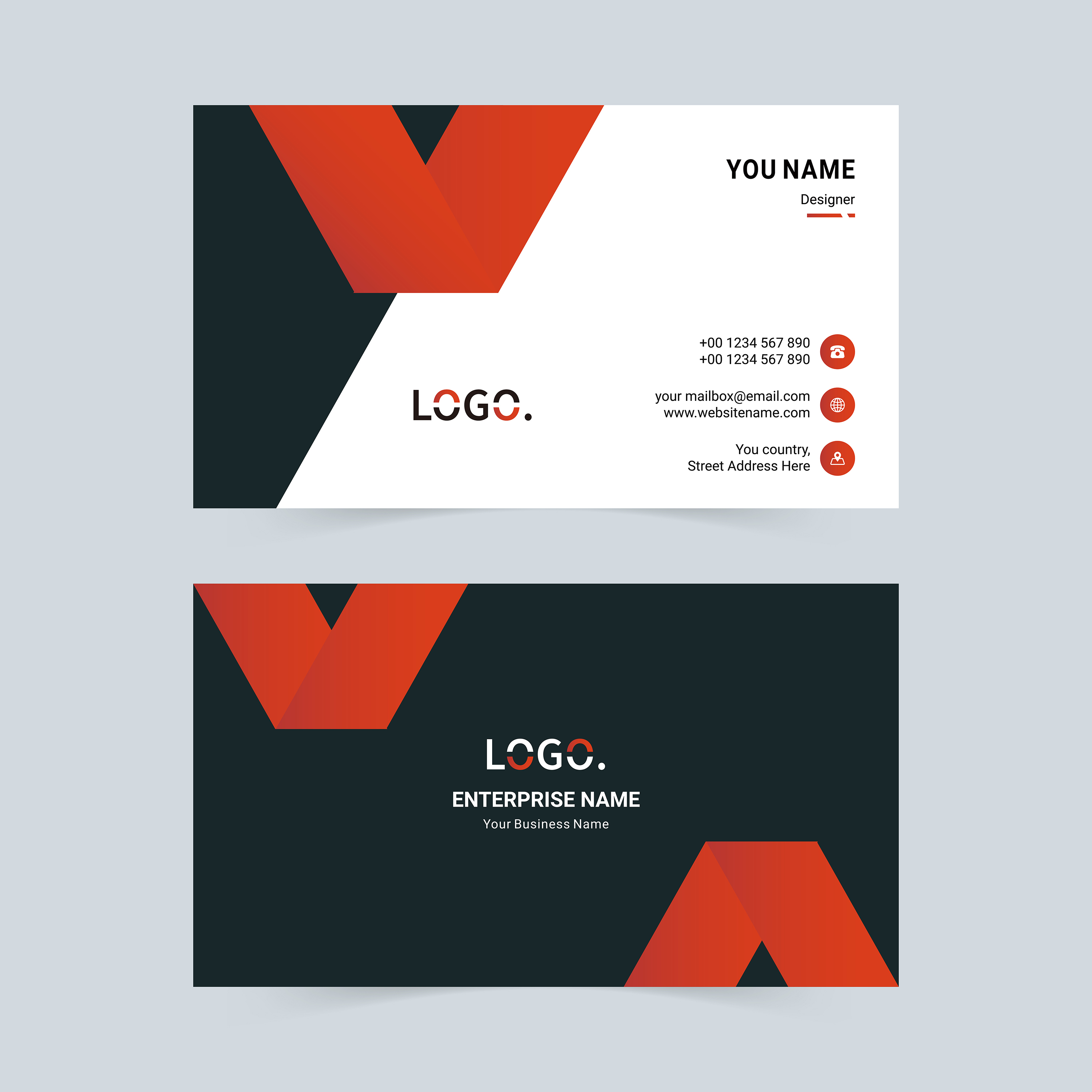 red and black v shape business card template