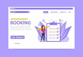 Purple toned appointment booking landing page