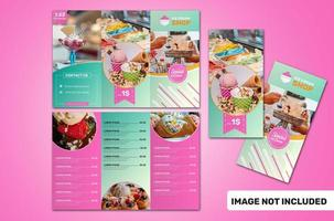 Folded Brochure Ice Cream Template in Pink and Green