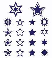 conjunto de iconos de estrella azul vector