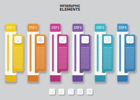 Colorful infographic vertical banners with 6 options