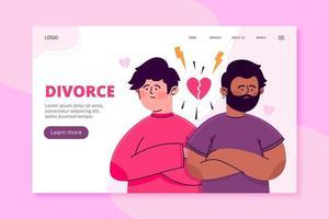 plantilla de página de aterrizaje de divorcio de pareja masculina vector