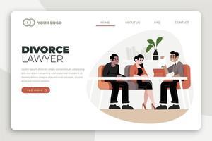 abogado de divorcio y página de inicio de discusión vector