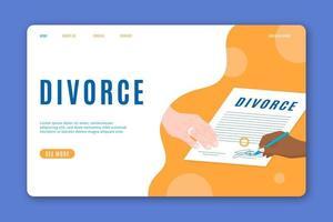 firmando plantilla de página de aterrizaje de documento de divorcio. vector