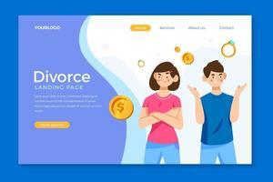 página de inicio de divorcio con pareja discutiendo vector