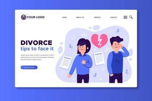consejos para enfrentar el divorcio plantilla de página de destino vector