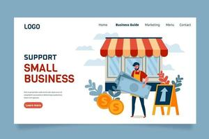 Support small business landing page template vector