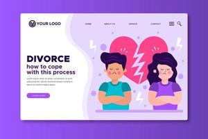 How to cope with divorce process landing page template vector
