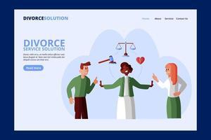 página de inicio de solución de servicio de divorcio vector