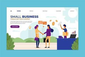 modèle de page de destination de l'équipe de conseil aux petites entreprises vecteur