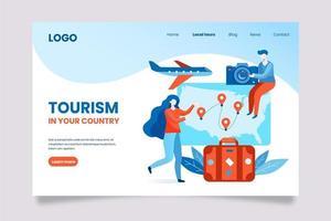 turismo no modelo da página de destino do seu país.