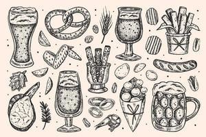Hand drawn sketch style Oktoberfest set of elements.