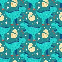 Little cute blue t-rex and eggs seamless pattern