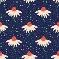 Little white wildflower seamless pattern