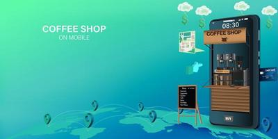 Coffee shop order and delivery on mobile design vector