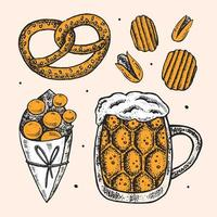 Oktoberfest hand drawn set of elements.