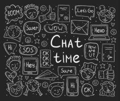 tiempo de chat dibujo de tiza doodle conjunto vector