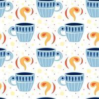 pequeña taza azul linda de patrones sin fisuras vector
