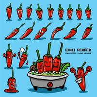Chili pepper character drawing set