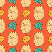 Shopping hand drawn doodle seamless pattern