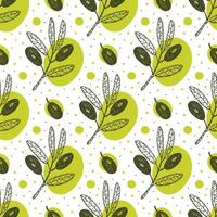 Olive fruit, branch hand drawn seamless pattern. vector
