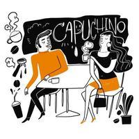 Hand gezeichnetes Paar, das Kaffee trinkt vektor