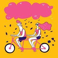 couple dessiné à la main prenant une balade à vélo vecteur