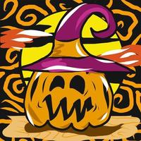 Jack-o-lantern with witch hat Halloween design