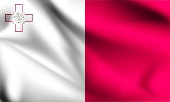Malta 3d flag  vector