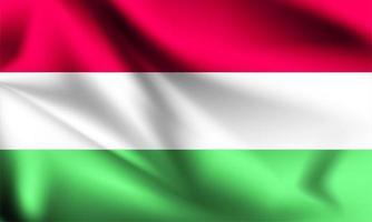 drapeau 3d de la Hongrie