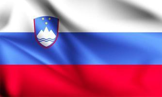 Slovenia 3d flag close up  vector